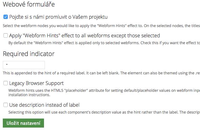 Webform Hints settings